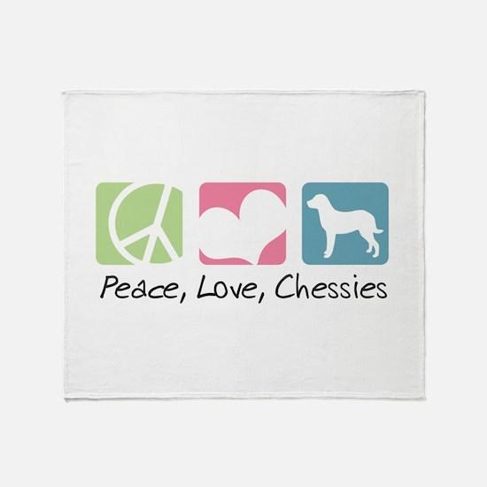 Peace, Love, Chessies Throw Blanket