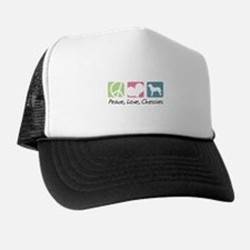 Peace, Love, Chessies Trucker Hat