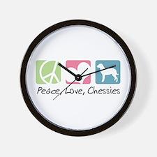 Peace, Love, Chessies Wall Clock