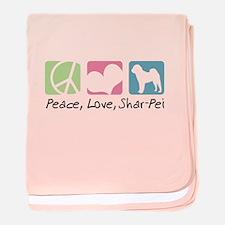 Peace, Love, Shar-Pei baby blanket