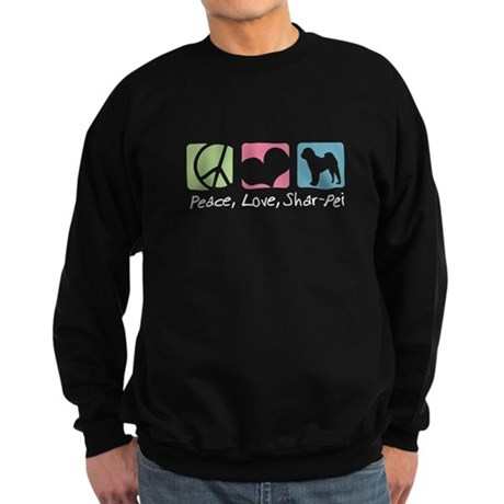 Peace, Love, Shar-Pei Sweatshirt (dark)