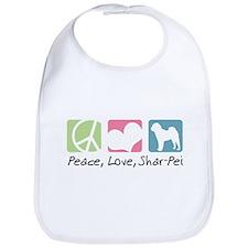 Peace, Love, Shar-Pei Bib