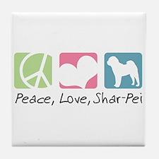 Peace, Love, Shar-Pei Tile Coaster
