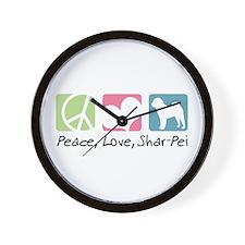 Peace, Love, Shar-Pei Wall Clock