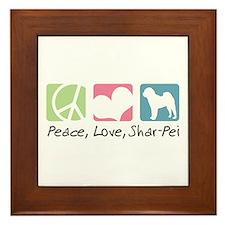 Peace, Love, Shar-Pei Framed Tile