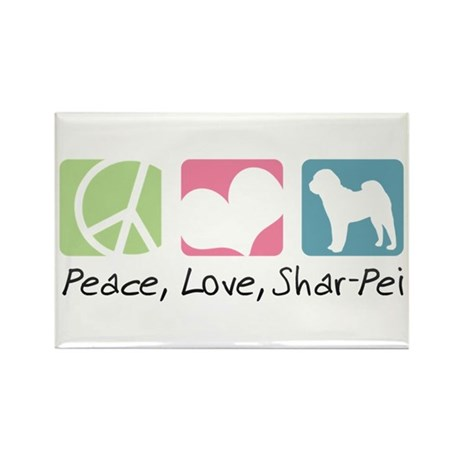 Peace, Love, Shar-Pei Rectangle Magnet