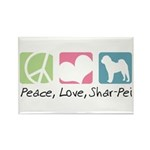 Peace, Love, Shar-Pei Rectangle Magnet (10 pack)