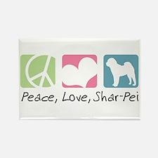 Peace, Love, Shar-Pei Rectangle Magnet (100 pack)