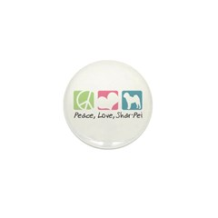 Peace, Love, Shar-Pei Mini Button (10 pack)