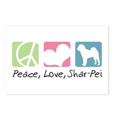Peace, Love, Shar-Pei Postcards (Package of 8)