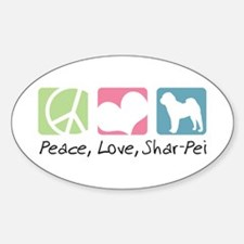 Peace, Love, Shar-Pei Decal