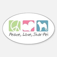 Peace, Love, Shar-Pei Sticker (Oval)