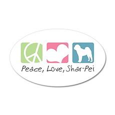 Peace, Love, Shar-Pei 22x14 Oval Wall Peel