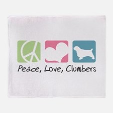 Peace, Love, Clumbers Throw Blanket