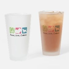 Peace, Love, Clumbers Drinking Glass