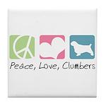 Peace, Love, Clumbers Tile Coaster