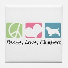 Peace, Love, Clumbers Tile Coaster