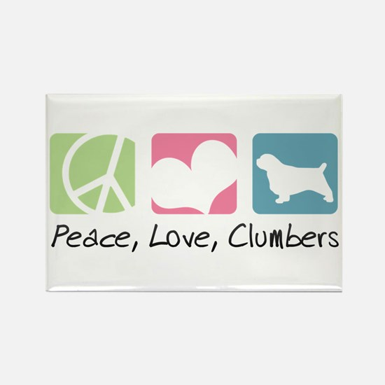 Peace, Love, Clumbers Rectangle Magnet