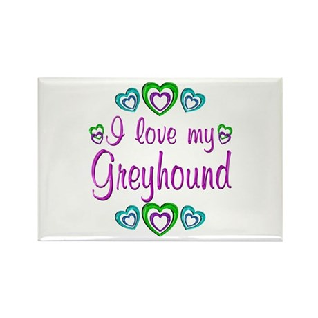 Love My Greyhound Rectangle Magnet (10 pack)