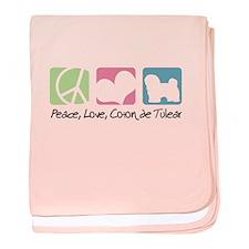 Peace, Love, Coton de Tulear baby blanket