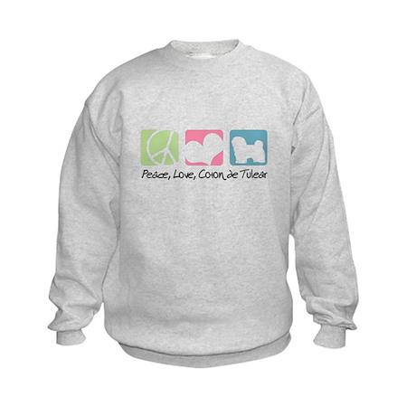 Peace, Love, Coton de Tulear Kids Sweatshirt