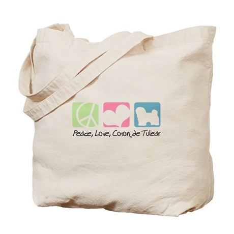 Peace, Love, Coton de Tulear Tote Bag