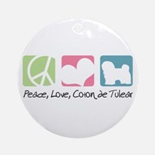 Peace, Love, Coton de Tulear Ornament (Round)