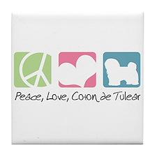 Peace, Love, Coton de Tulear Tile Coaster