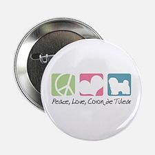 "Peace, Love, Coton de Tulear 2.25"" Button (100 pac"