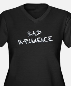 Bad Influence Women's Plus Size V-Neck Dark T-Shir