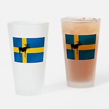 Swedens Elk / Moose Flag Drinking Glass