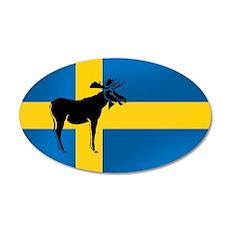 Swedens Elk / Moose Flag 22x14 Oval Wall Peel