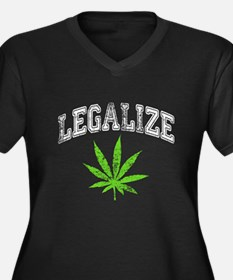 Legalize Women's Plus Size V-Neck Dark T-Shirt