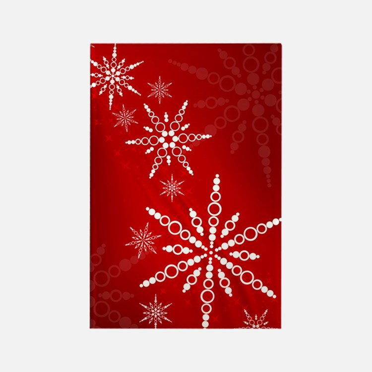 Red Snowflakes Rectangle Magnet