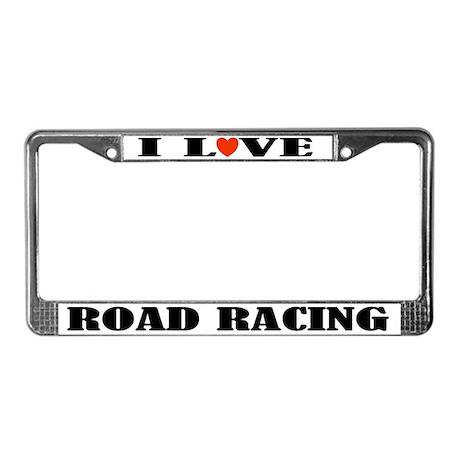 Biking I Love Road Racing License Frame
