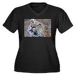 Leopard Portrait Women's Plus Size V-Neck Dark T-S