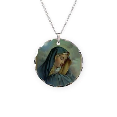 Virgin Mary Assumption Necklace Circle Charm