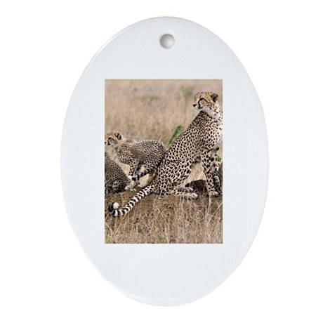 Cheetah Family Ornament (Oval)
