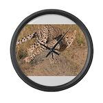 Cheetah On The Move Large Wall Clock