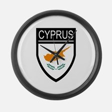 Cyprus Flag Patch Large Wall Clock