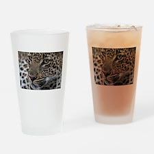 Leopard Portrait Drinking Glass