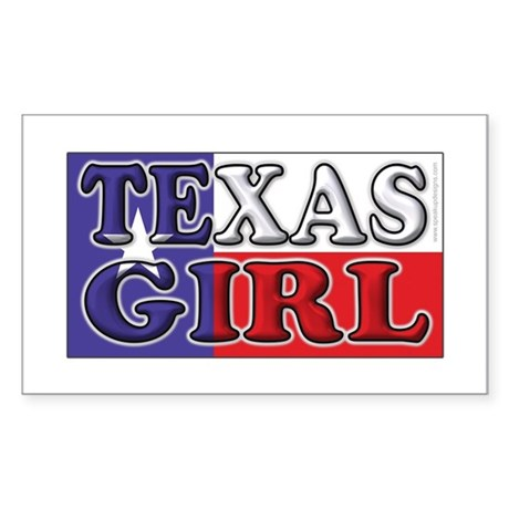 Texas Girl with Flag Rectangle Sticker