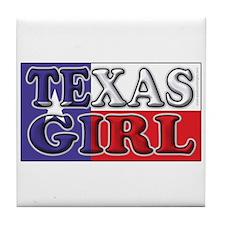 Texas Girl with Flag Tile Coaster