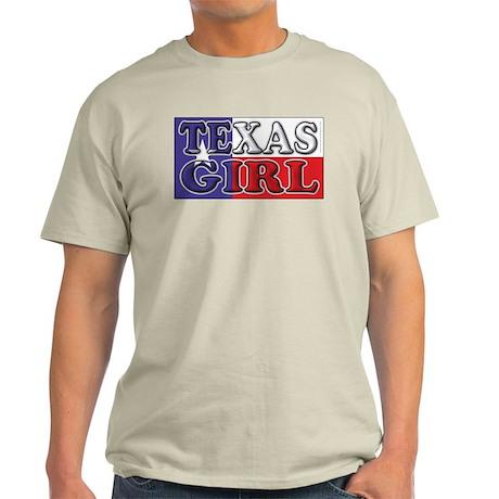 Texas Girl with Flag Ash Grey T-Shirt
