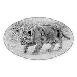 Lion Cub Stalking Sticker (Oval 50 pk)