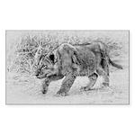 Lion Cub Stalking Sticker (Rectangle)