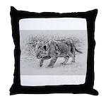 Lion Cub Stalking Throw Pillow
