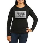 Lion Cub Stalking Women's Long Sleeve Dark T-Shirt