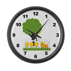 Outdoor Cat Large Wall Clock