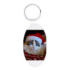 Ragdoll cat in Santa Hat Keychains